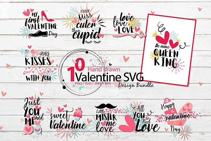 Hand drawn Valentine SVG Design Bundle