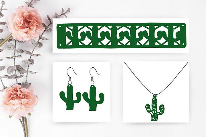 Cactus svg cut file, Set jewelry cactus svg cut file,earring