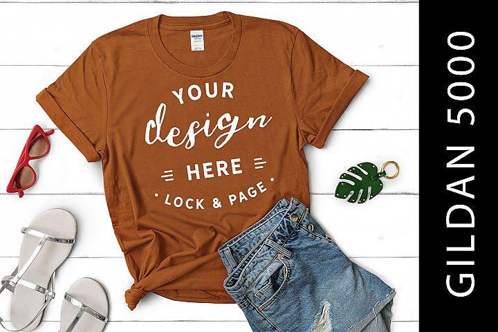 T Orange Gildan 5000 Womens Knotted T-Shirt Mockup