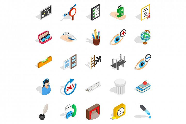 Business trip icons set, isometric style