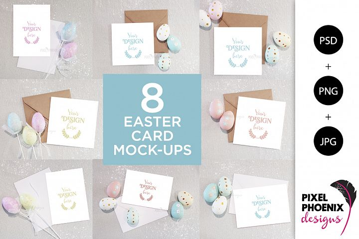 Easter Card Mockup Bundle - 8 Designs