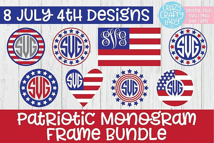Patriotic Monogram Frame SVG DXF EPS PNG Cut File Bundle