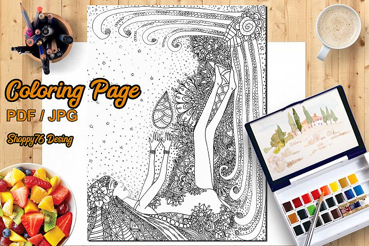 Game with life / Coloring page / Digital Stamp