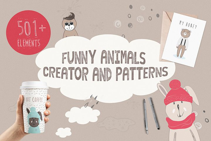 Funny Animals Creator & Patterns - Free Design of The Week Font