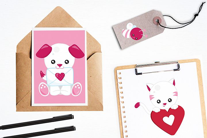 Valentine Animals graphics and illustrations - Free Design of The Week Design2