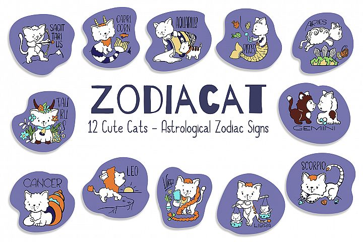 Zodiac Signs Cute Cat Vector Set. Astrological Symbols