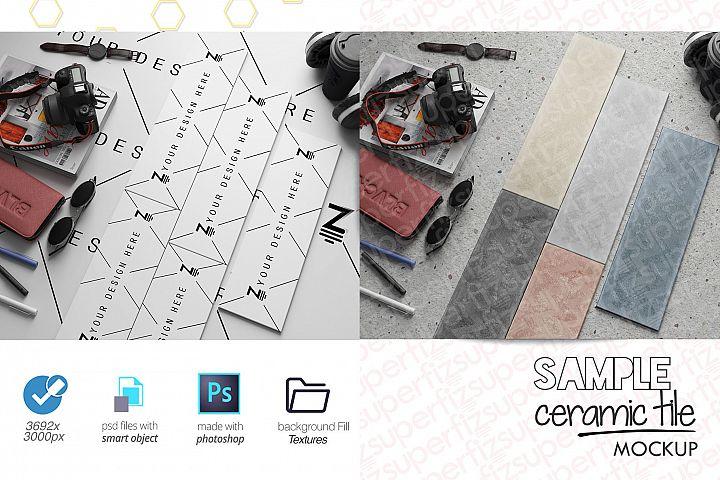 Sample Parquet Ceramic Tile Mockup PSD SM93R