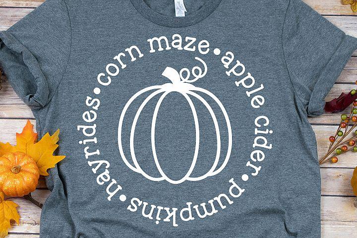 Pumpkins Hayrides Corn Maze Apple Cider SVG, DXF, PNG, EPS