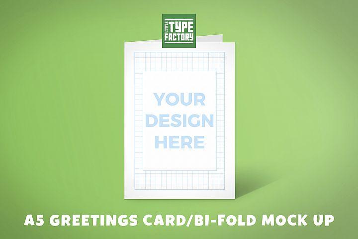 A5 Greetings Card Bi-fold Mock Up