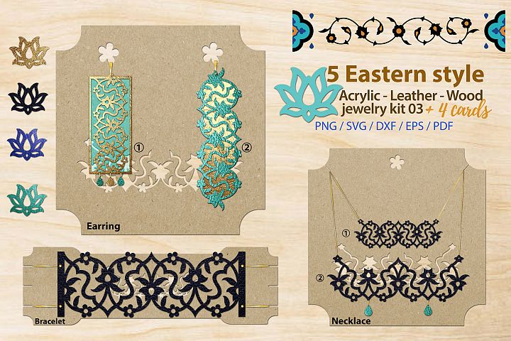 Eastern style acrylic leather wood jewelry kit 03