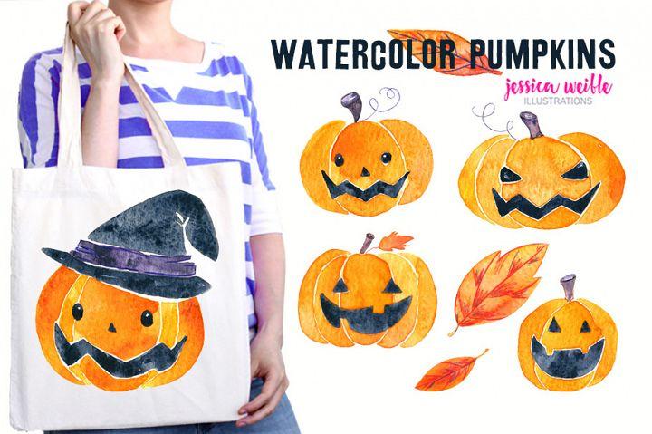 Watercolor Halloween Pumpkins & Leaves