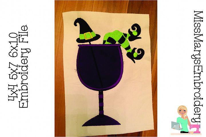 Witch Wine Embroidery Applique Design