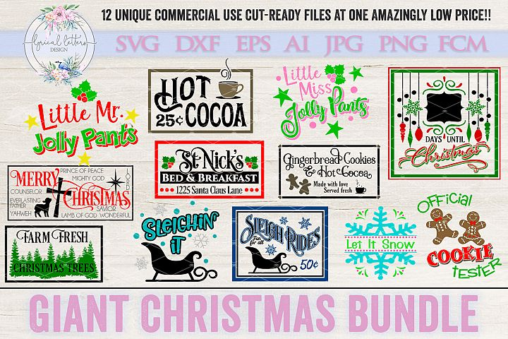 Giant Christmas Bundle of 12 SVG Cut Files LLC
