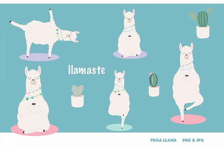 Llamaste! Yoga llama clipart set - 300 dpi, png, jpg