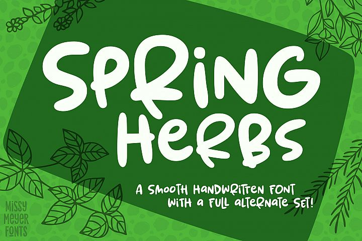 Spring Herbs - a bouncy, blobby, whimsical font!