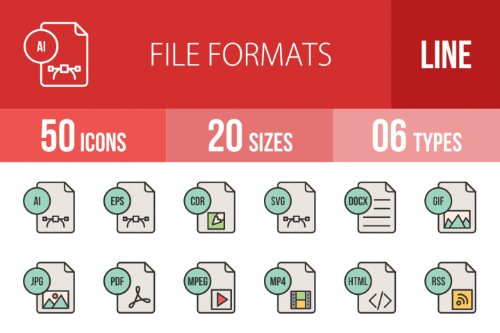 50 File Formats Filled Line Icons Season II