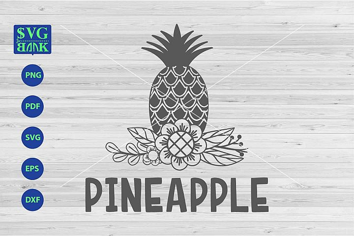 Pineapple svg, Pineapple with flower svg, png, dxf, cut