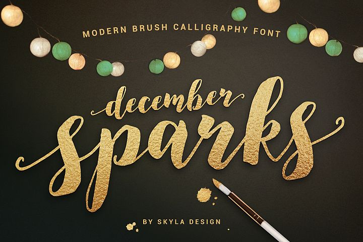 Modern brush calligraphy font, December Sparks