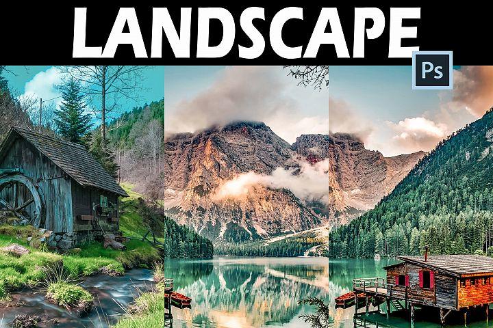 25 Landscape Photoshop Actions, ACR and LUT Presets
