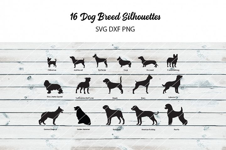 16 Dog Breed Silhouettes - svg dxf png