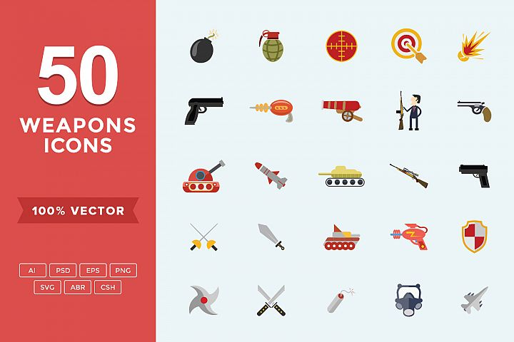 Weapons Set Flat Vector Icons