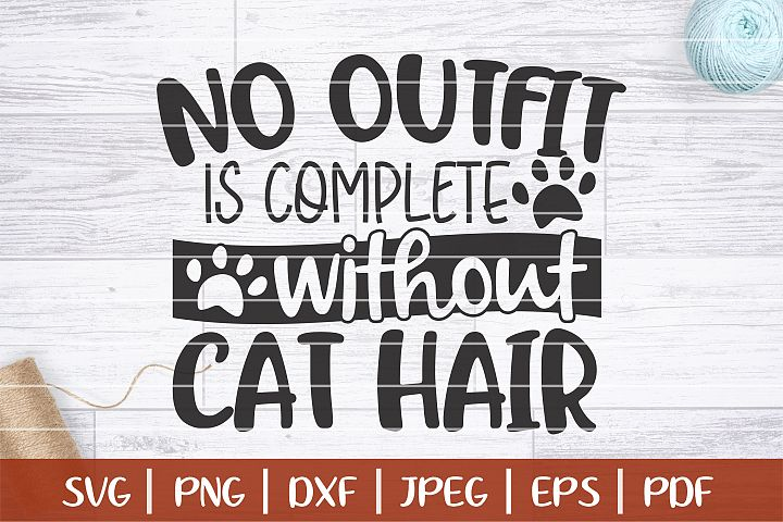No Outfir Is Complete Without Cat Hair SVG, Funny Cat SVG