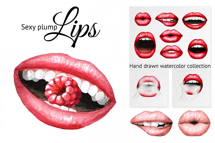 Lips. Watercolor collection