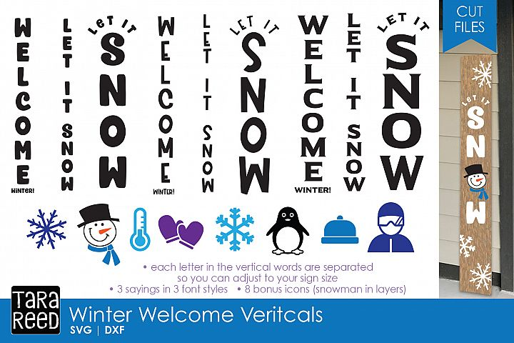 Winter Welcome Vertical Signs - Sign SVG & Cut Files