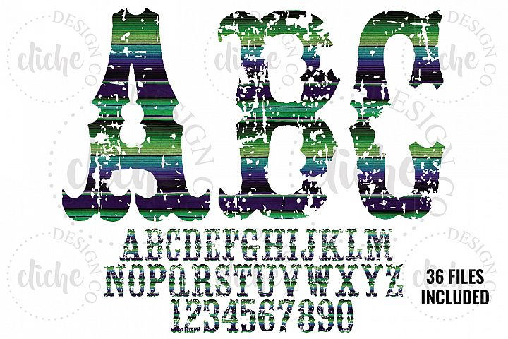 Grunge Serape Alphabet Sublimation Set