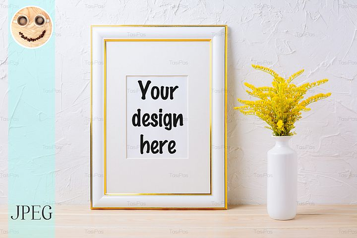 Gold decorated frame mockup with ornamental yellow flowering