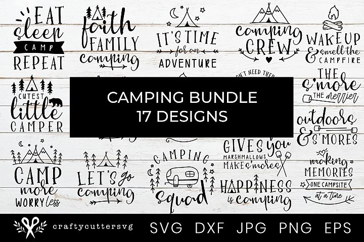 Camping Bundle 17 Designs Campfire Camper Camp Tent Clipart