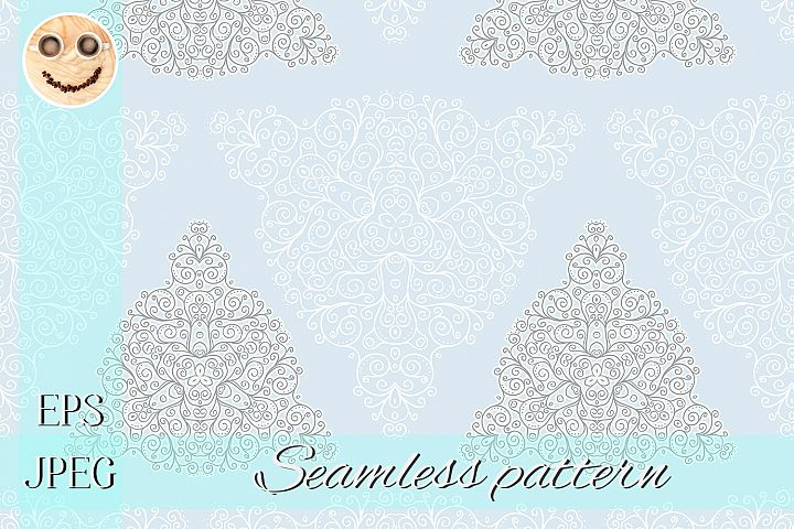 White grey blue doodles abstract seamless pattern