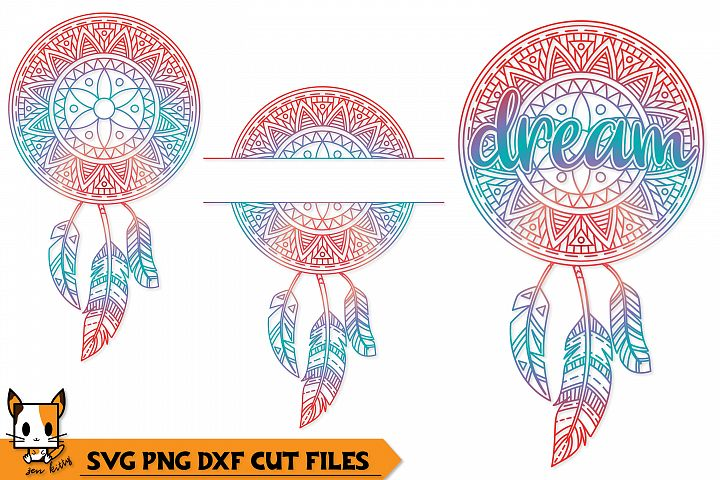 Dream Boho Dreamcatcher - Mandala SVG PNG DXF Cut Files