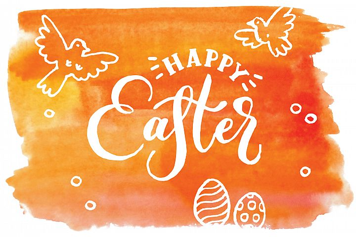 Happy Easter. Vector elements and watercolor textures.