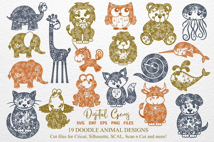 The Doodle Animal Bundle SVG / DXF / EPS files