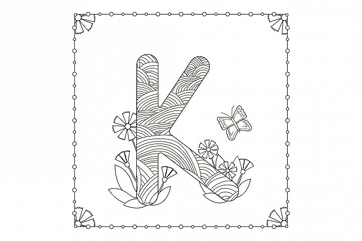 Letter K. Flowers. Coloring page.