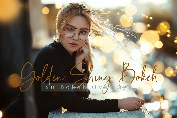 60 Golden Shiny Bokeh lights Effect Photo Overlay Pack