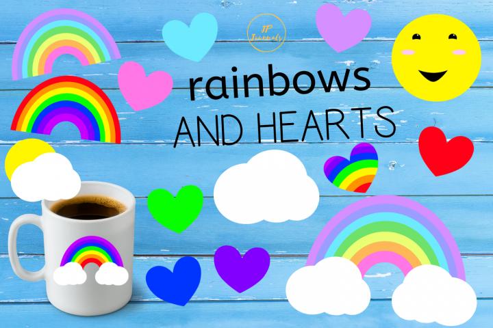 Rainbows and Hearts Clip Art
