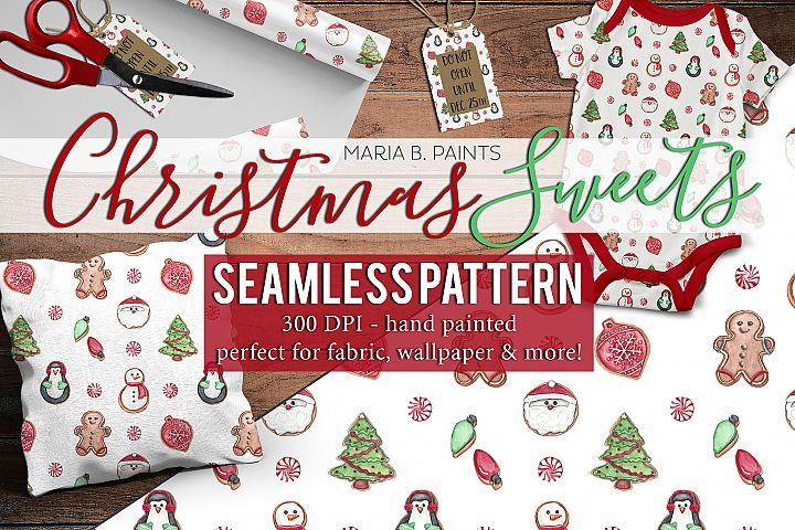 Christmas Sweets Seamless Pattern Deign