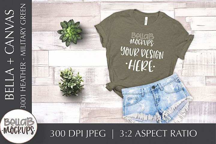 Bella Canvas 3001 Heather Womans T Shirt Mockup, Military