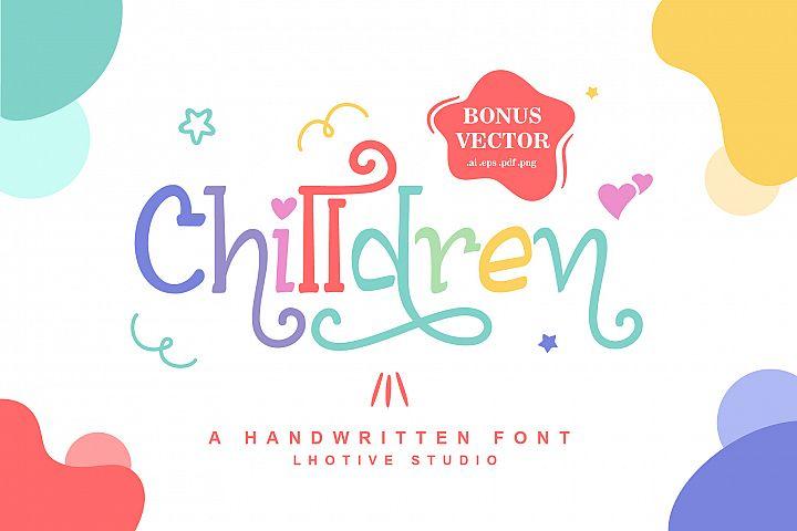 Chilldren Handwritten | Bonus Vector