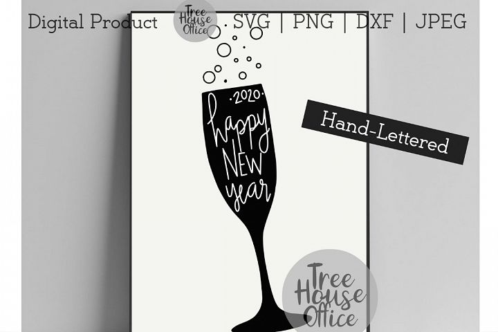 Happy New Year Champagne Glass Pop the Bubbly 2020 SVG PNG