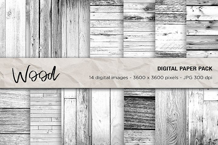 Wood Digital Papers, White Wood Textures
