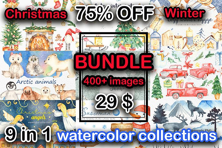 BUNDLE Christmas and Winter watercolor collections clipart