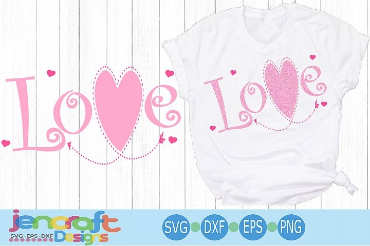 Valentine Love SVG - Stitched Heart arrow svg file