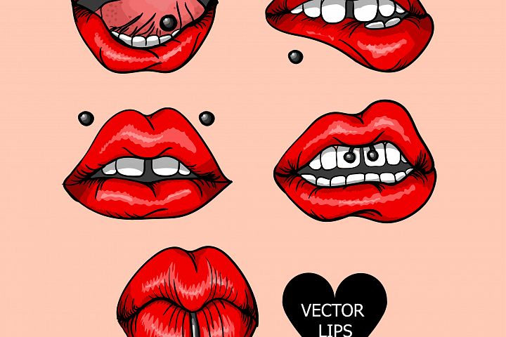 Set and pattern of red lips with piercings.