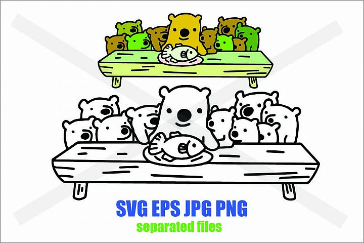 Polar Eating Fish with children- SVG EPS JPG PNG