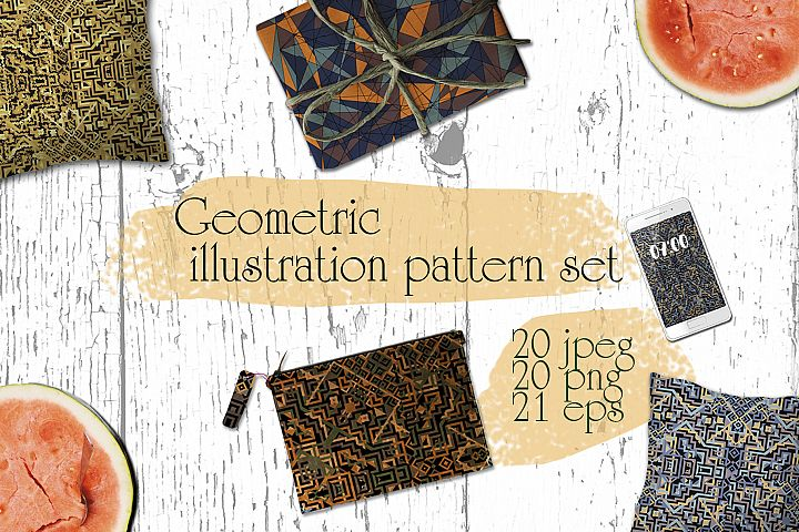 Geometric illustration pattern set