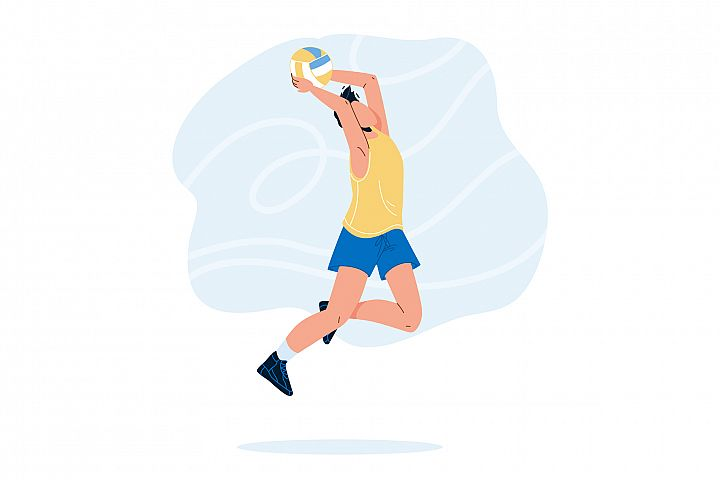 Volleyball Player Jump And Throwing Ball Vector
