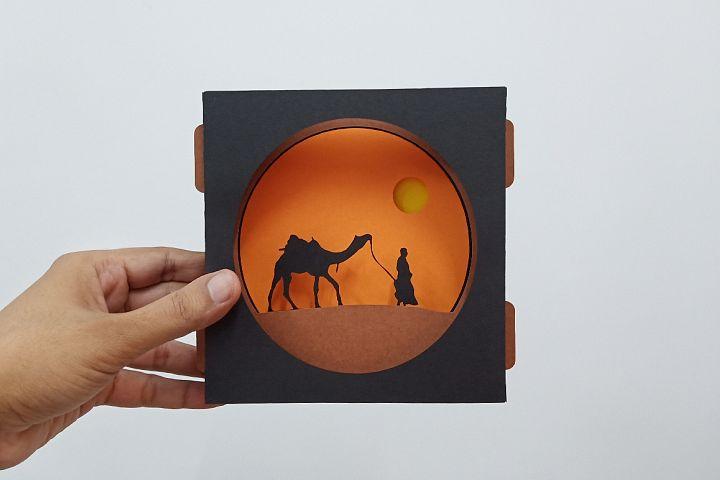 Camel safari tunnel Card - 3d papercraft